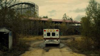 Louisiana paramedic van drives through abandoned park in sci-fi movie Synchronic