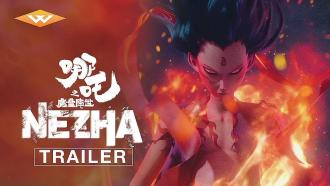 Ne Zha (2019) official Well Go USA trailer thumbnail image shows demon on fire
