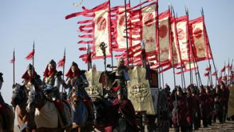 LEGENDARY AMAZONS armed flag bearers ride into battle