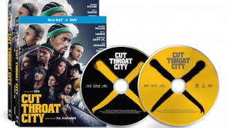 Official box art and disc art for CUT THROAT CITY from Well Go USA