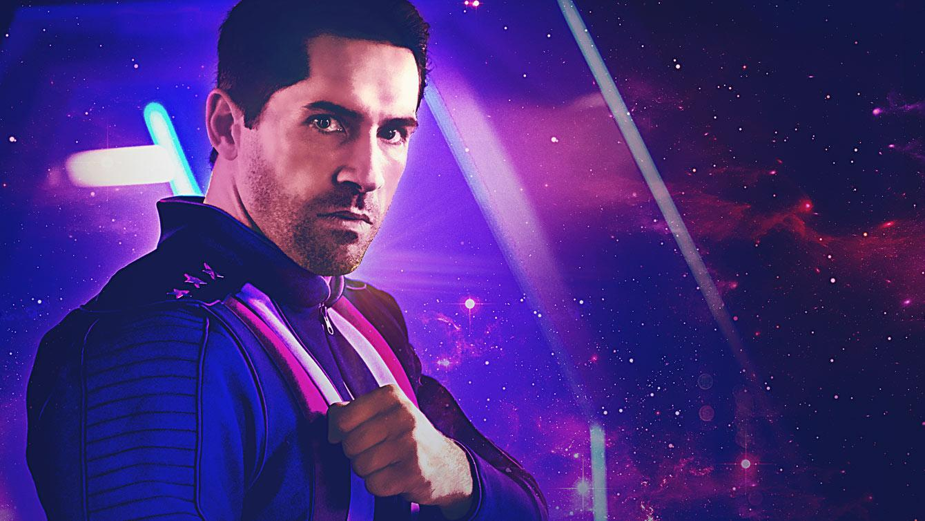 Martial artist Scott Adkins pictured as intergalactic space hero Max Cloud for Well Go USA