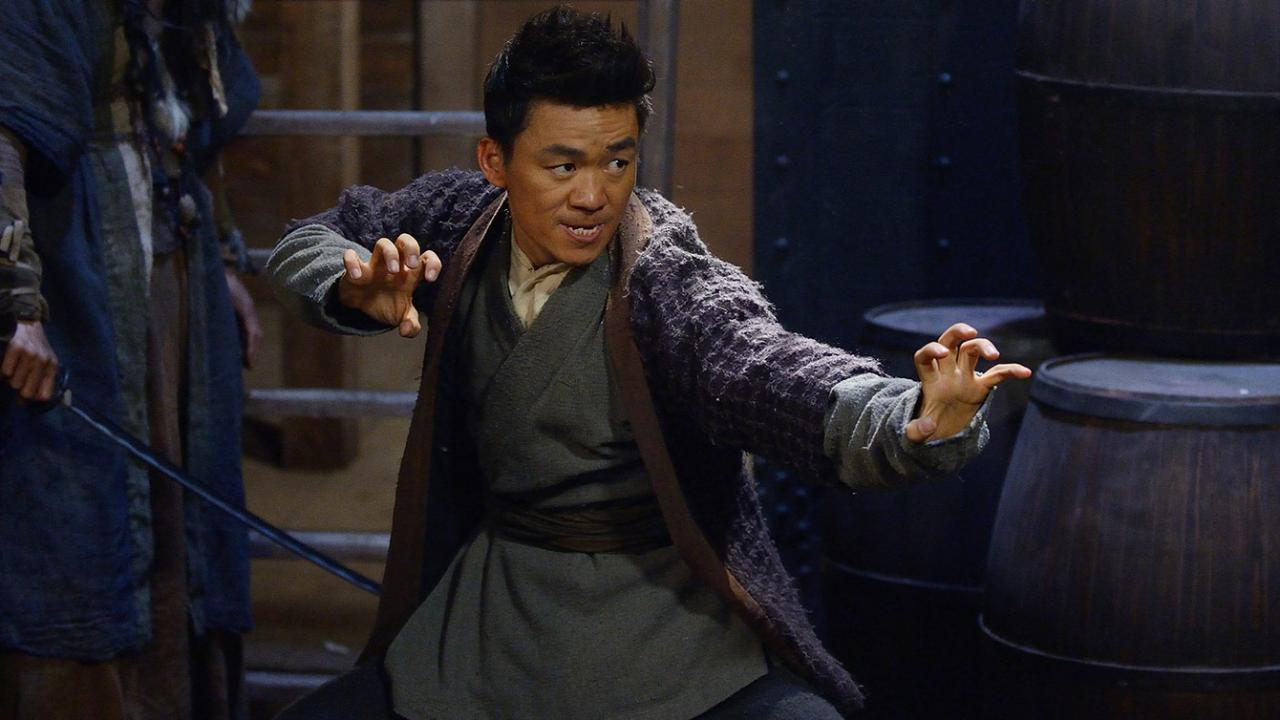 Man in fighting stance in martial arts film Iceman: The Time Traveler