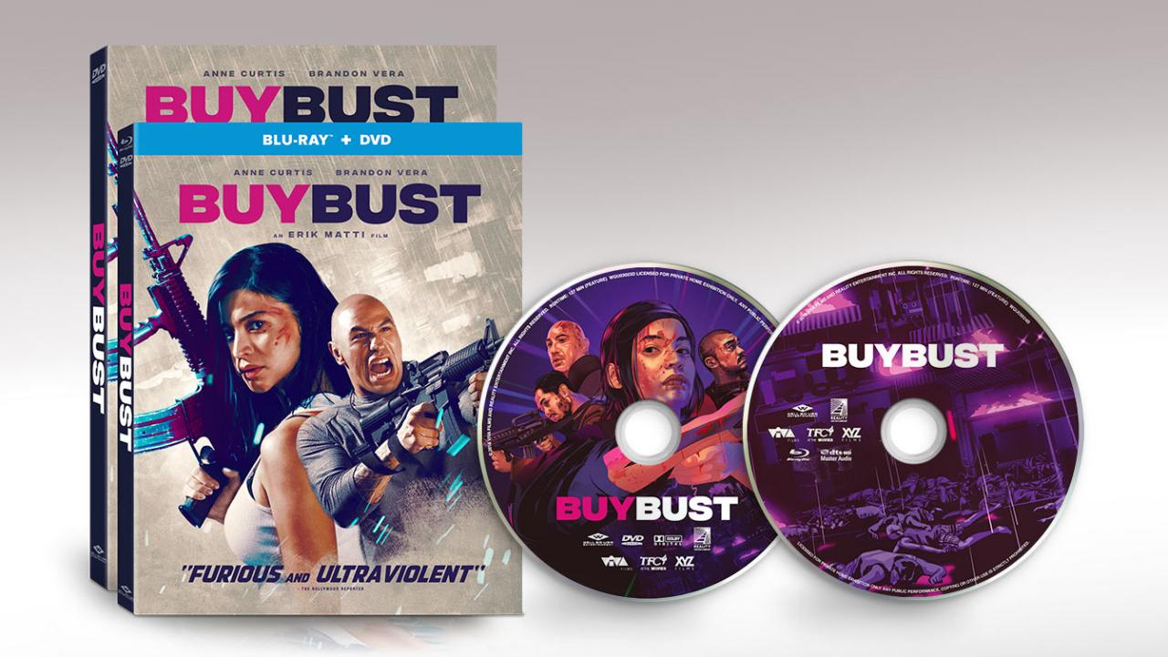 BUYBUST (2018) action crime movie packshot discs from Well Go USA