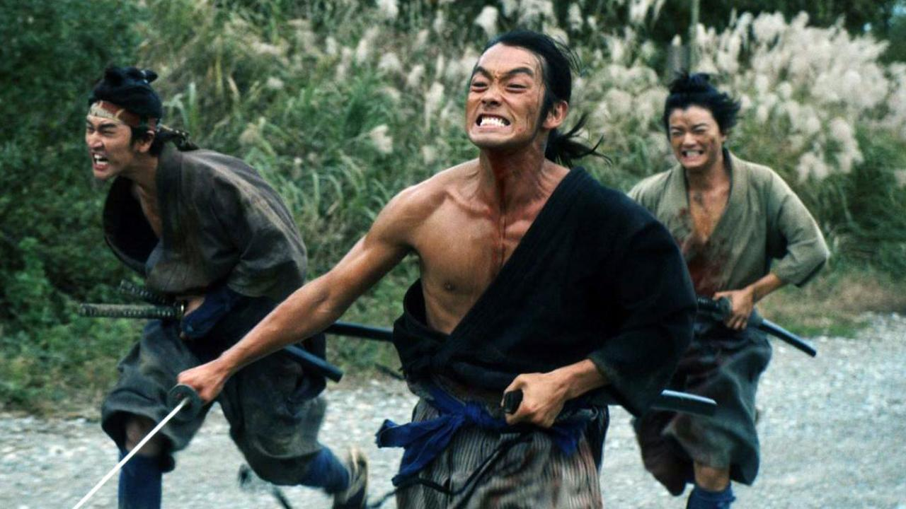 Three samurai men run through the forests in a marathon race
