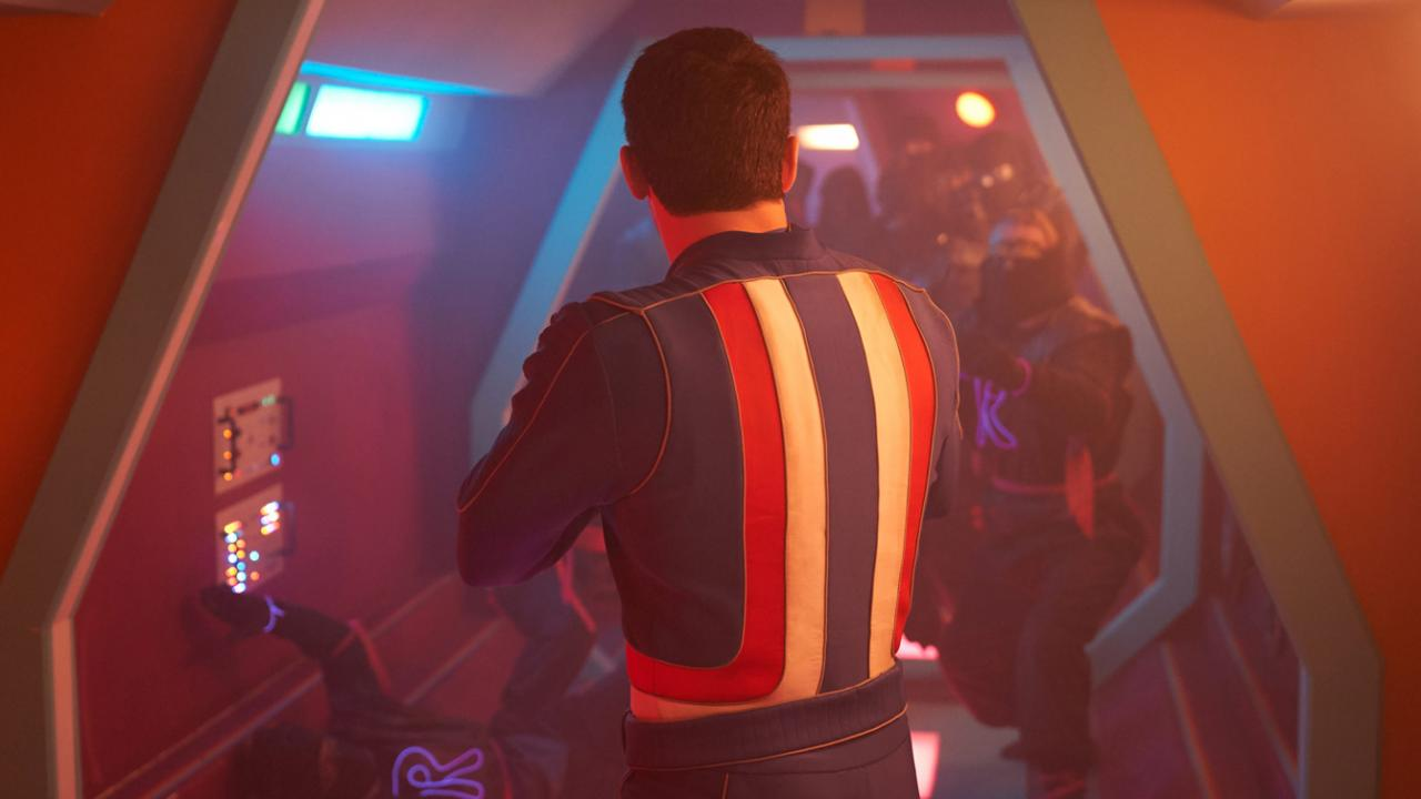 Scott Adkins entering his spaceship control room in MAX CLOUD for Well Go USA