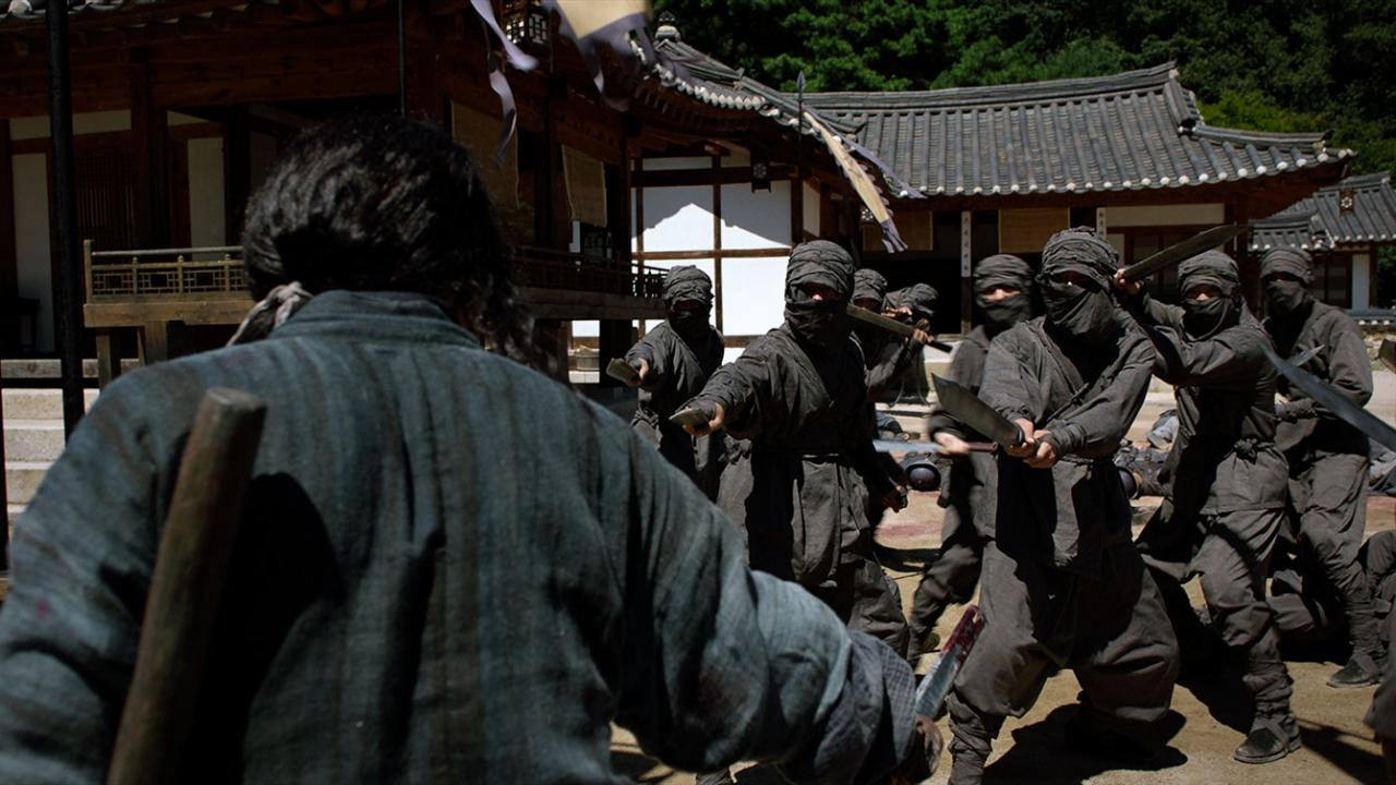 A blind swordsman facing many enemies in THE SWORDSMAN Korean martial arts film from Well Go USA